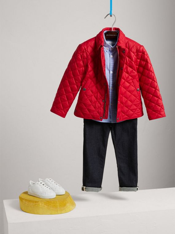 Diamond Quilted Jacket in Bright Cherry Red