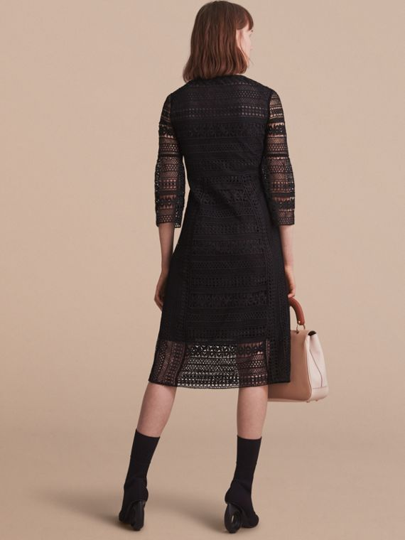 Puff-sleeve Macramé Lace Dress - cell image 2