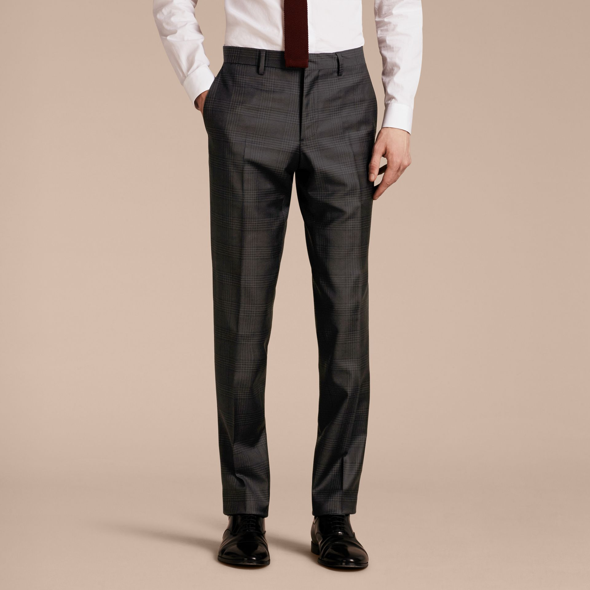 Slim Fit Travel Tailoring Prince of Wales Check Wool Suit - gallery image 9