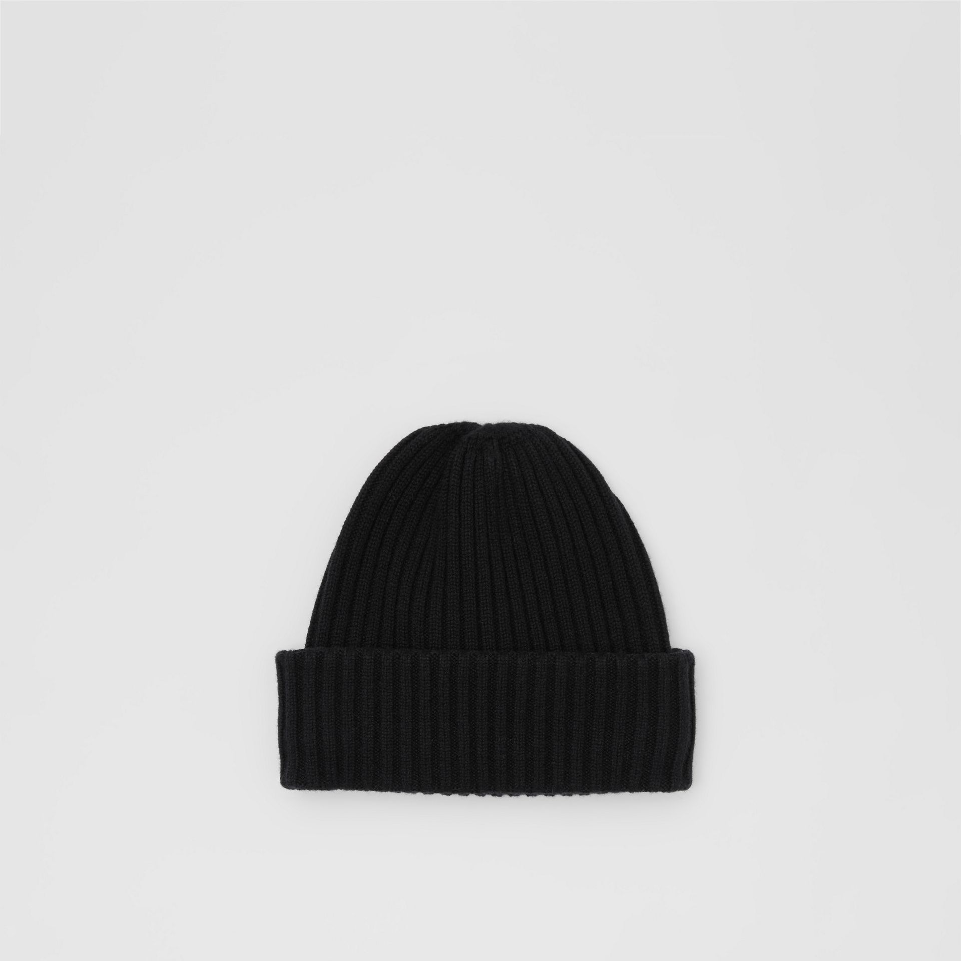 Icon Stripe Trim Rib Knit Cashmere Beanie in Black | Burberry - gallery image 0