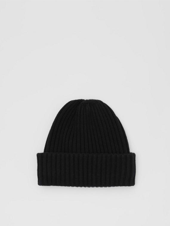 Кашемировая шапка в резинку с отделкой в полоску (Черный)