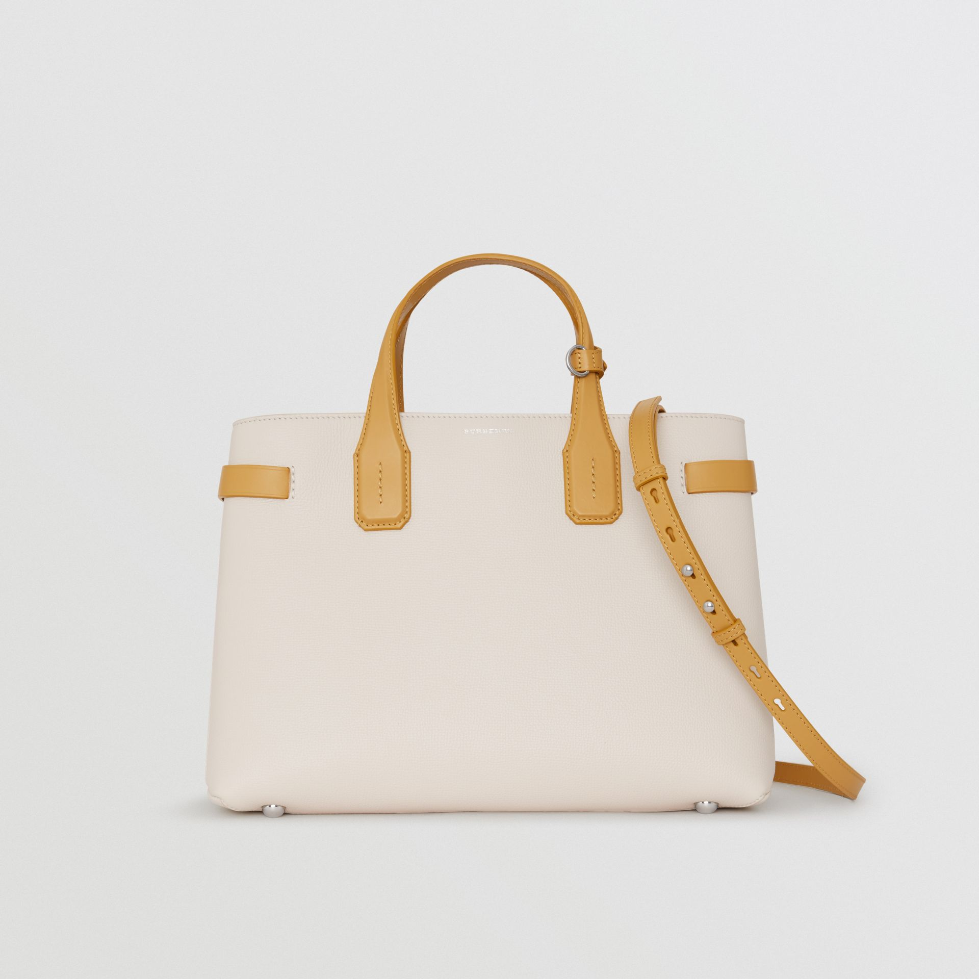 The Medium Banner in Two-tone Leather in Limestone/cornflower Yellow - Women | Burberry United States - gallery image 0