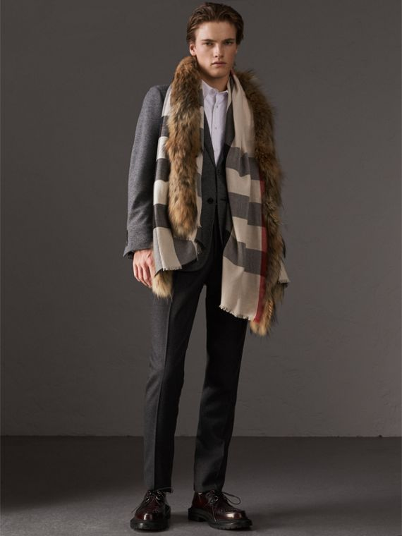 Raccoon Trim Check Wool Cashmere Scarf in Stone - Women | Burberry Australia - cell image 3