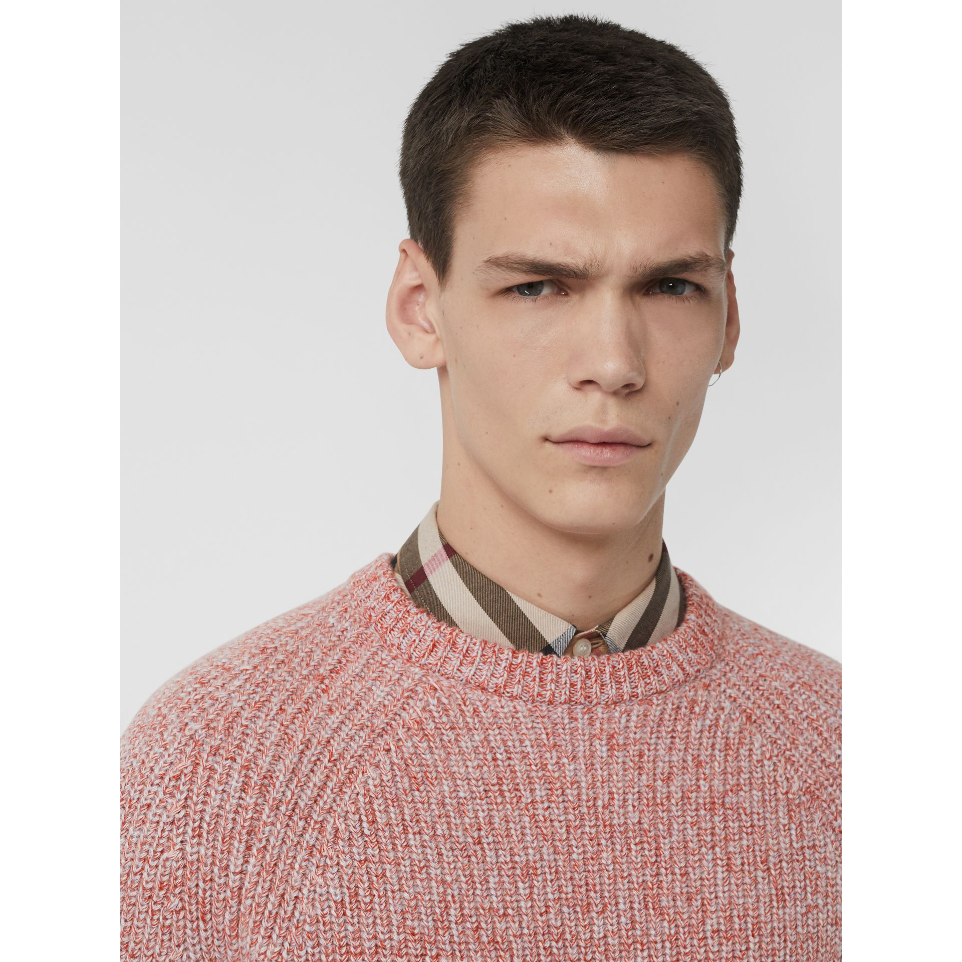 Rib Knit Cashmere Cotton Blend Sweater in Apricot Pink - Men | Burberry - gallery image 1