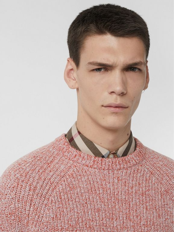 Rib Knit Cashmere Cotton Blend Sweater in Apricot Pink - Men | Burberry - cell image 1