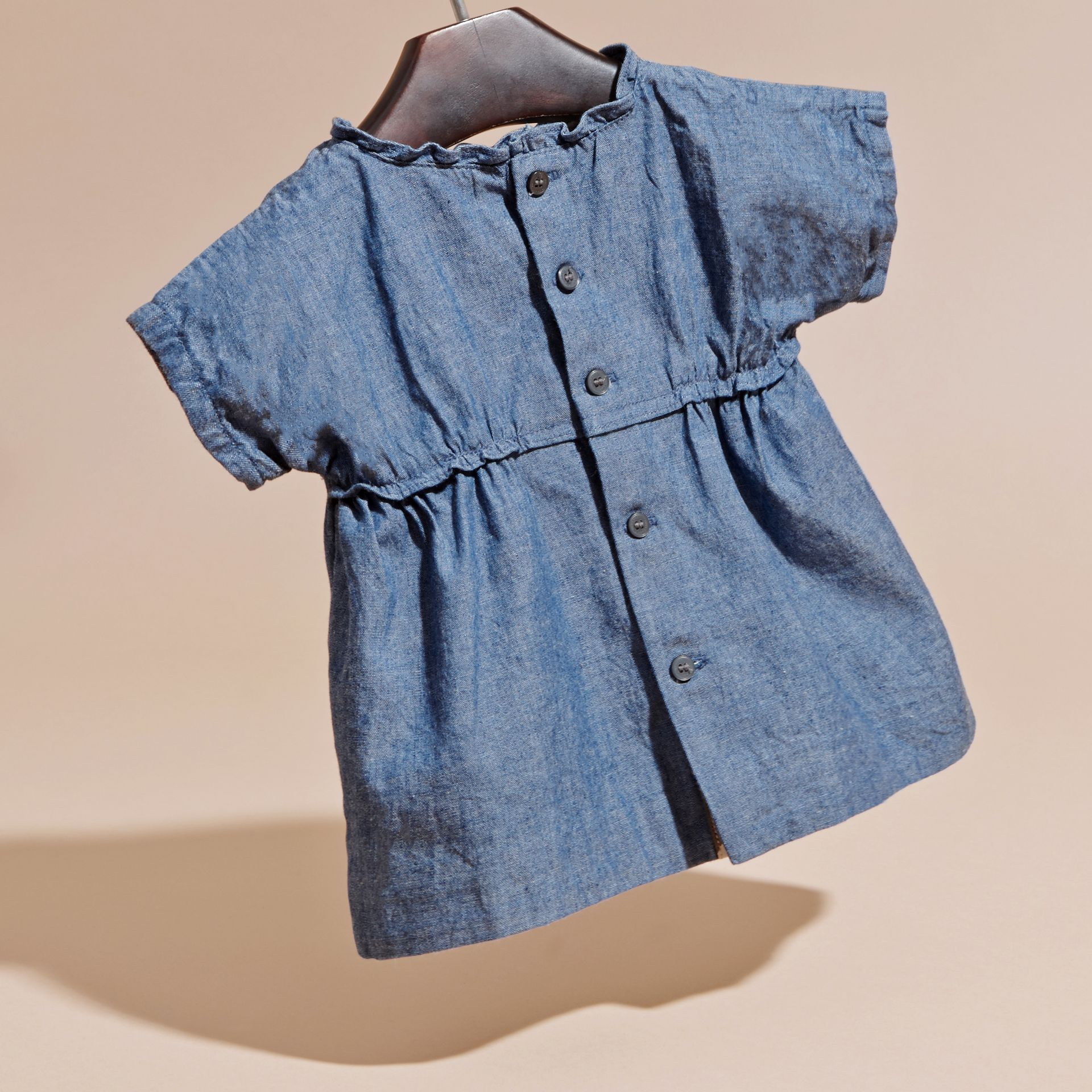 Stone blue Ruffle Detail Cotton Chambray Top - gallery image 4