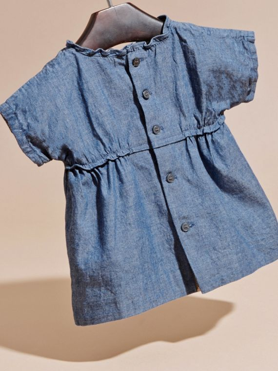 Stone blue Ruffle Detail Cotton Chambray Top - cell image 3