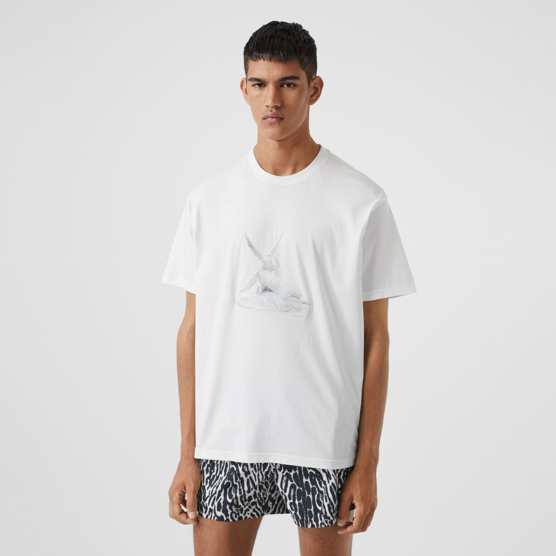 Cupid Print Cotton Oversized T-shirt in White - Men | Burberry - gallery image 5