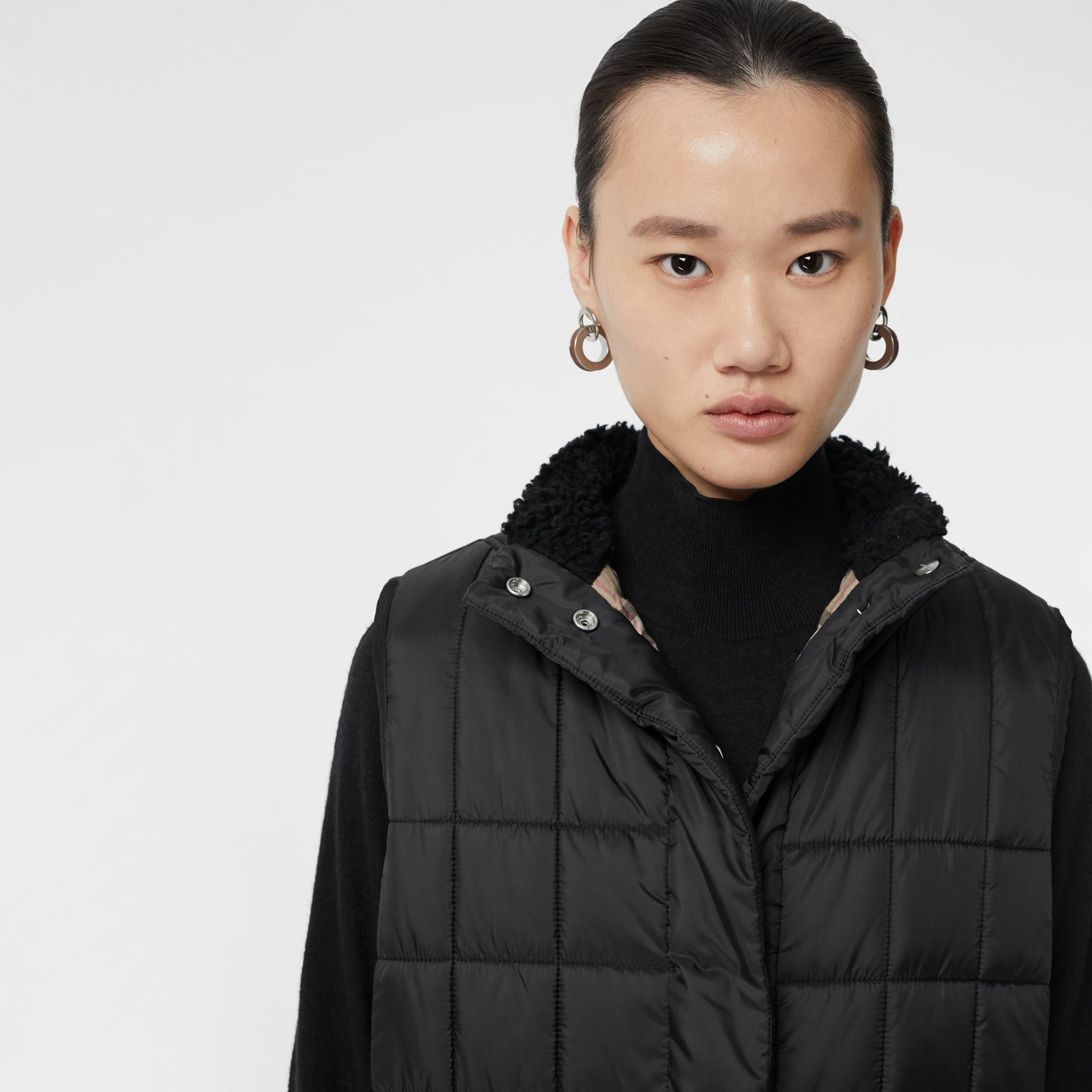 Faux Shearling Collar Lightweight Quilted Gilet in Black - Women | Burberry - gallery image 4