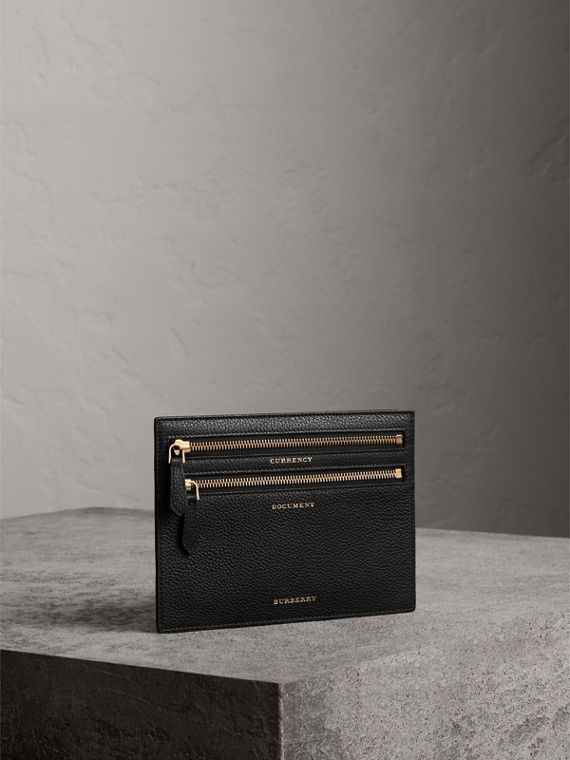 Grainy Leather Currency Wallet in Black | Burberry Hong Kong - cell image 3