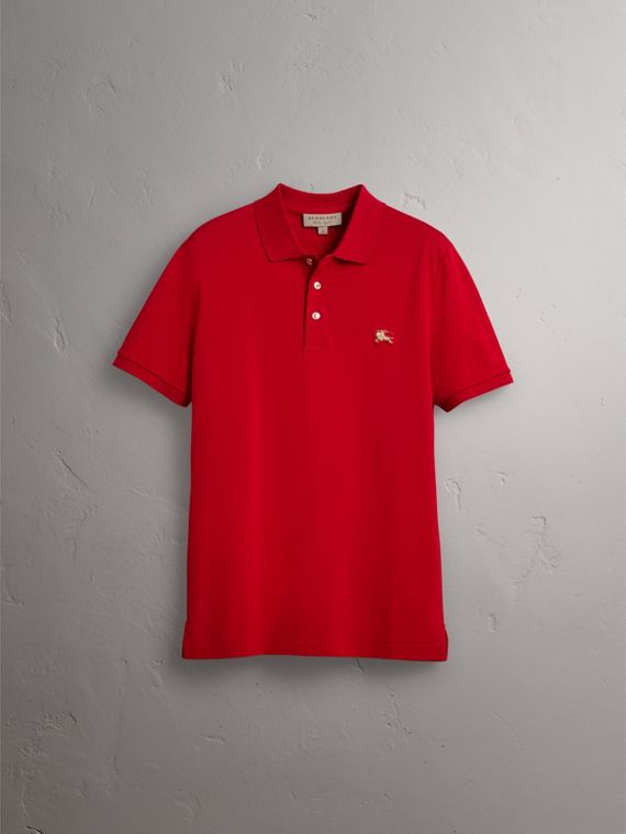 Cotton Piqué Polo Shirt in Military Red - Men | Burberry United Kingdom - cell image 3