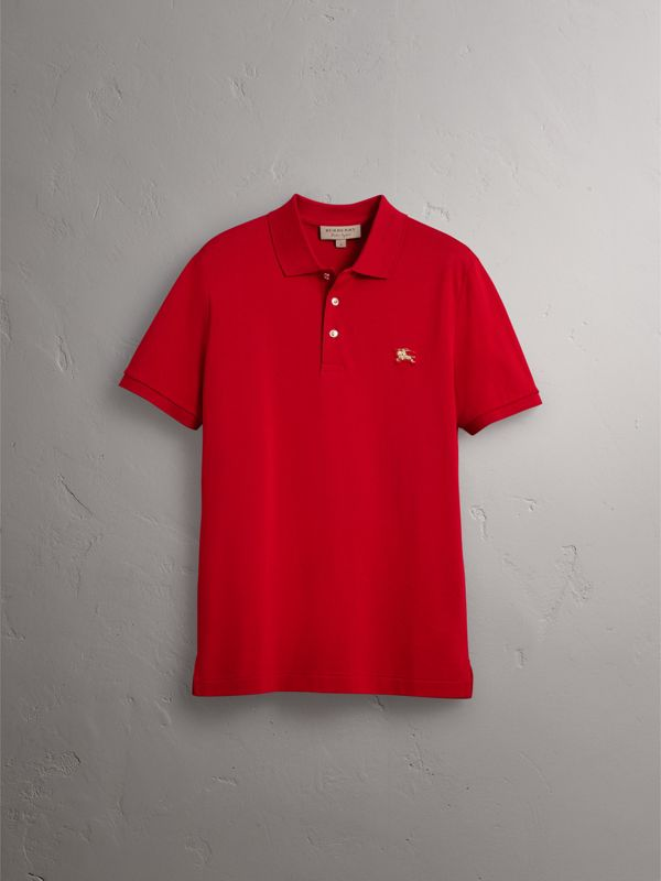 Cotton Piqué Polo Shirt in Military Red - Men | Burberry - cell image 3