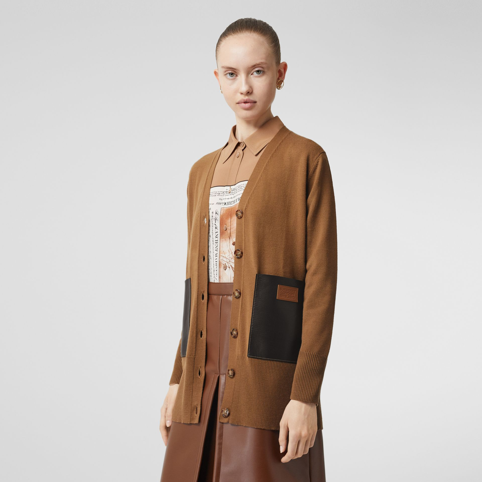 Lambskin Pocket Merino Wool Cardigan in Warm Walnut - Women | Burberry - gallery image 3