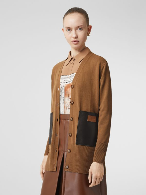 Lambskin Pocket Merino Wool Cardigan in Warm Walnut - Women | Burberry - cell image 3