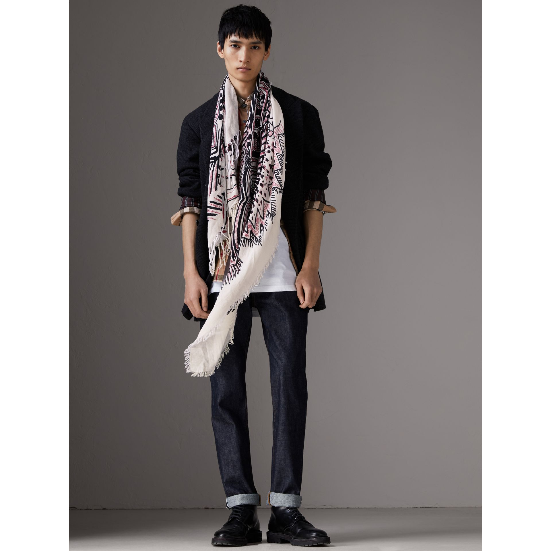 Doodle Print Silk Cotton Scarf in White/black | Burberry - gallery image 3