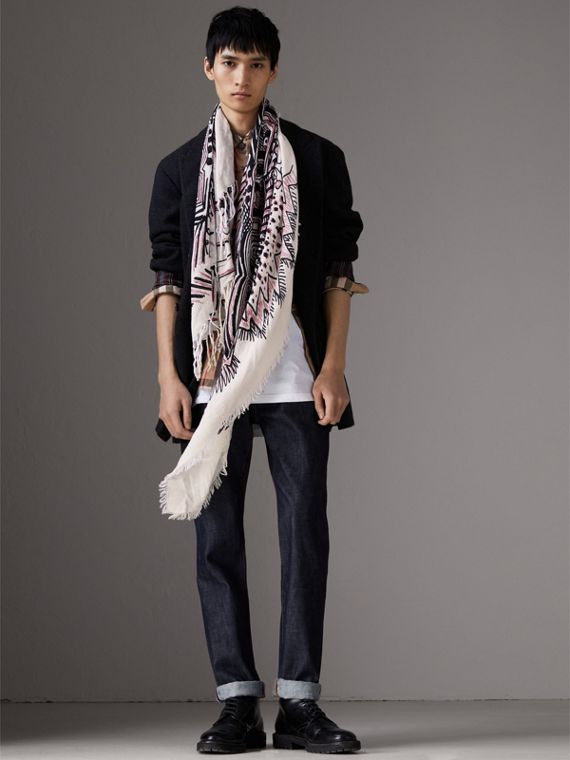Doodle Print Silk Cotton Scarf in White/black | Burberry - cell image 3