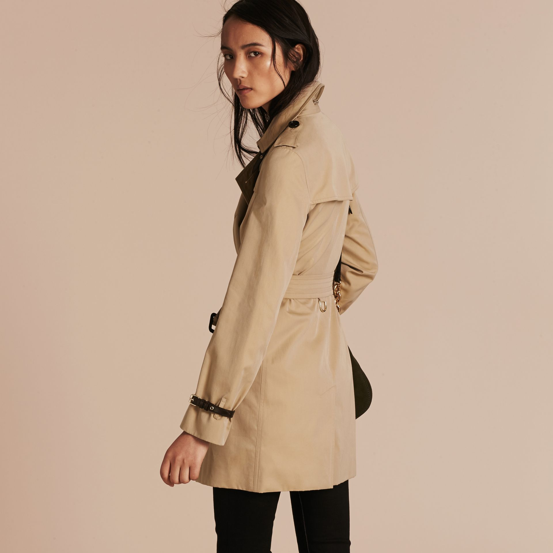 Honey Leather Detail Cotton Gabardine Trench Coat Honey - gallery image 3