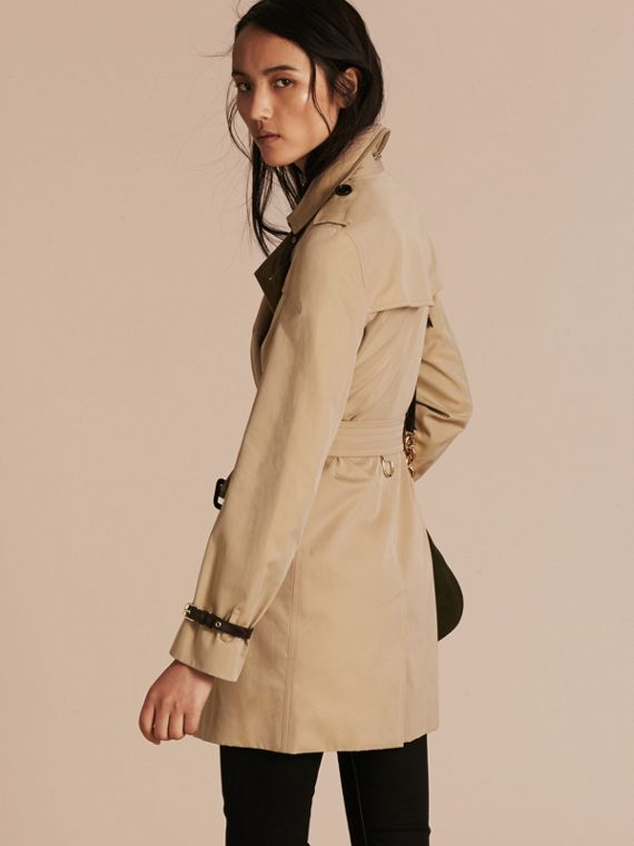 Honey Leather Detail Cotton Gabardine Trench Coat Honey - cell image 2