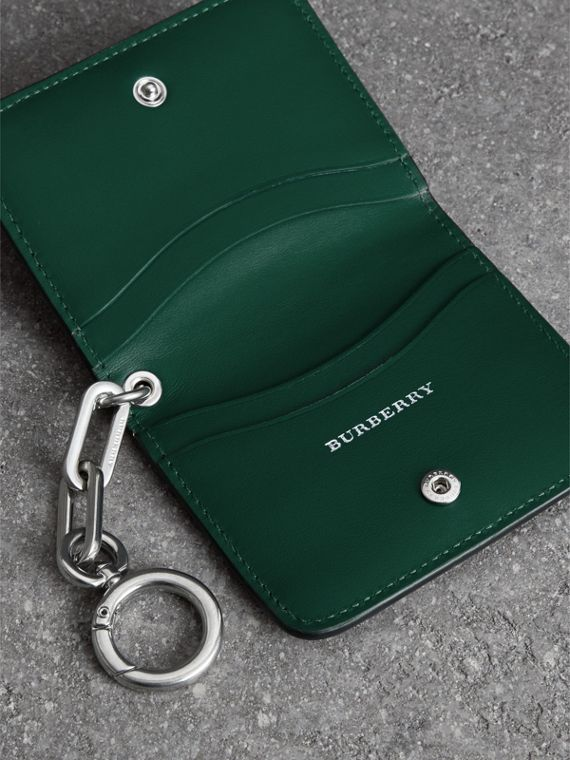 Link Detail Leather ID Card Case Charm in Black | Burberry United States - cell image 3