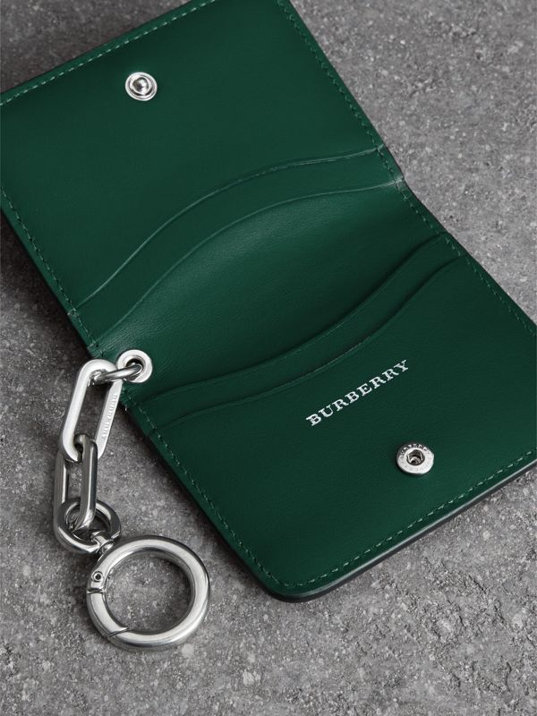 Link Detail Leather ID Card Case Charm in Black | Burberry - cell image 3