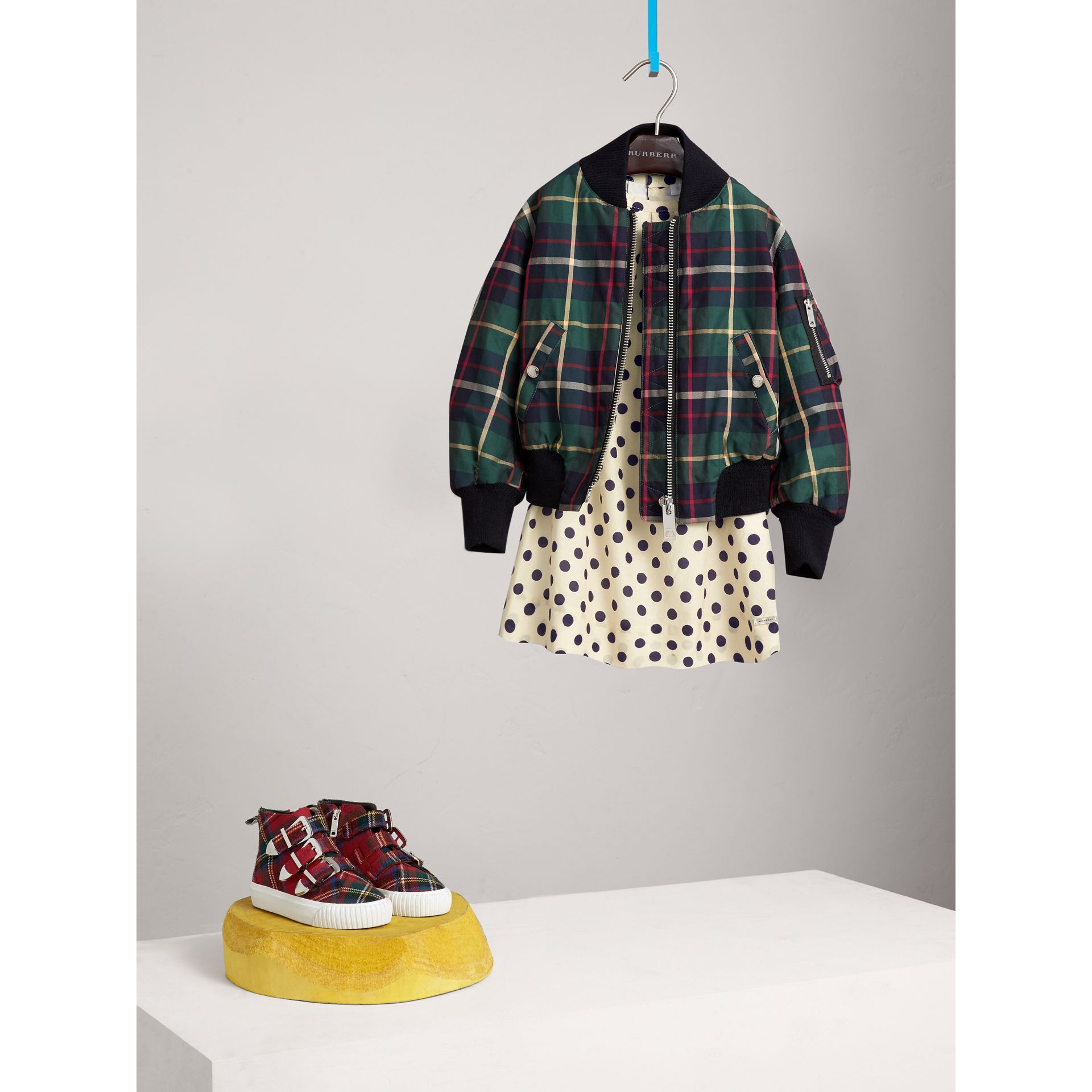 Tartan Cotton Bomber Jacket in Racing Green - Girl | Burberry - gallery image 1