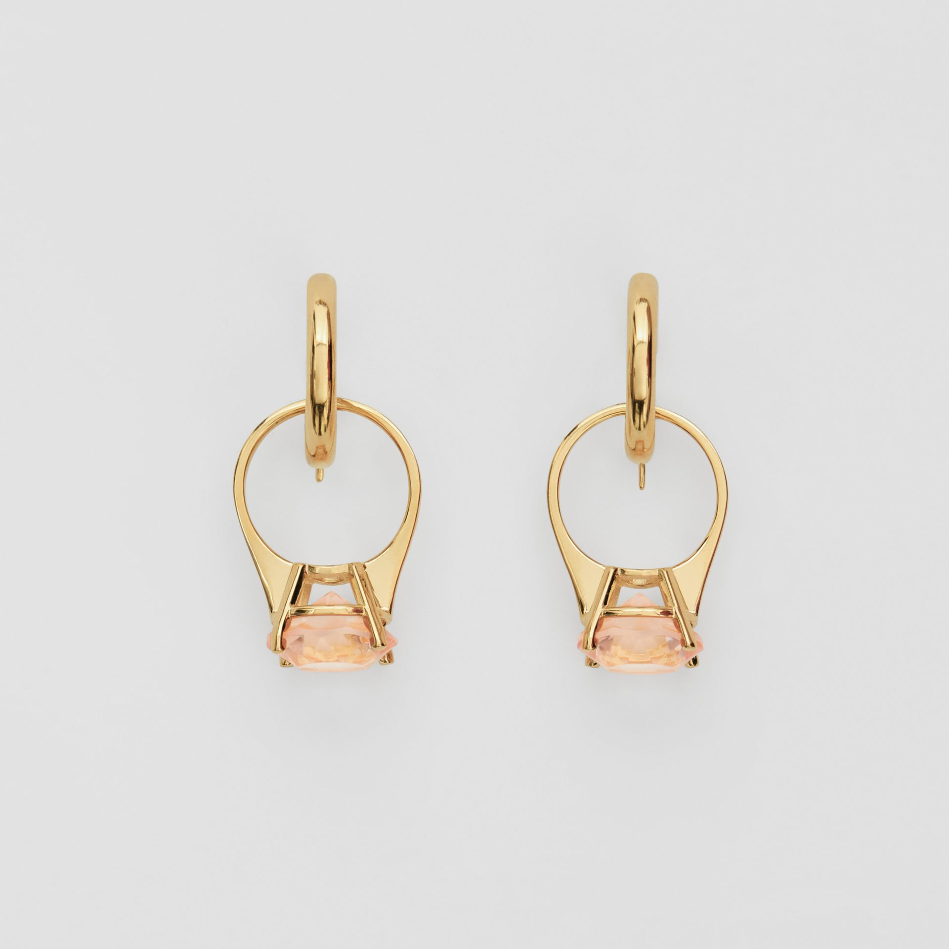 Crystal Ring Detail Gold-plated Hoop Earrings in Light Gold/pink - Women | Burberry Australia - gallery image 0