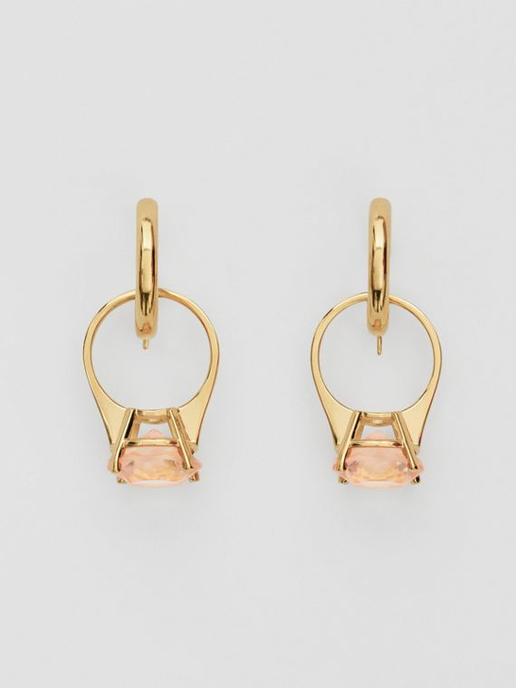 Crystal Ring Detail Gold-plated Hoop Earrings in Light Gold/pink