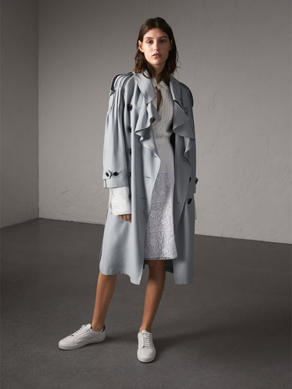 Ruffle Detail Silk Trench Coat in Pale Slate Blue