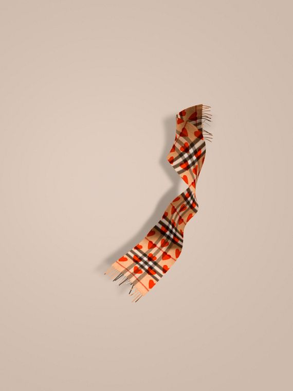 The Mini Classic Cashmere Scarf in Check and Hearts Parade Red