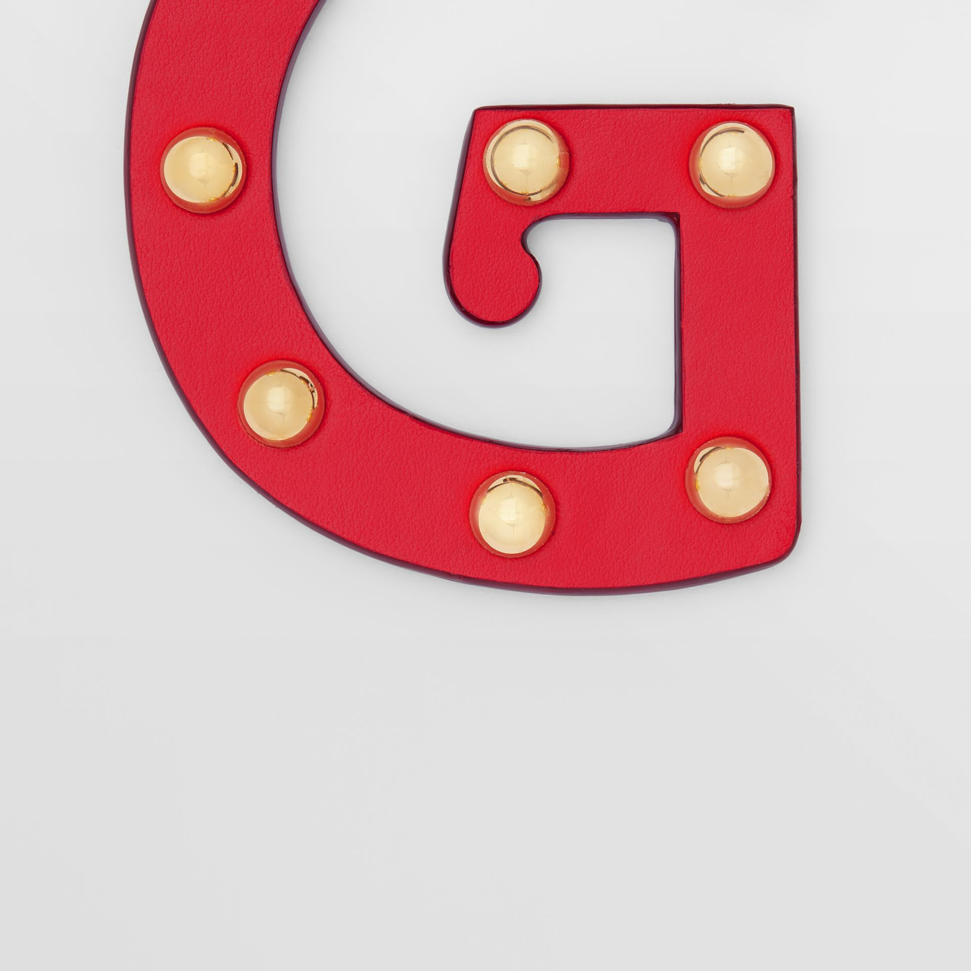 'G' Studded Leather Alphabet Charm in Red/light Gold - Women | Burberry - gallery image 1