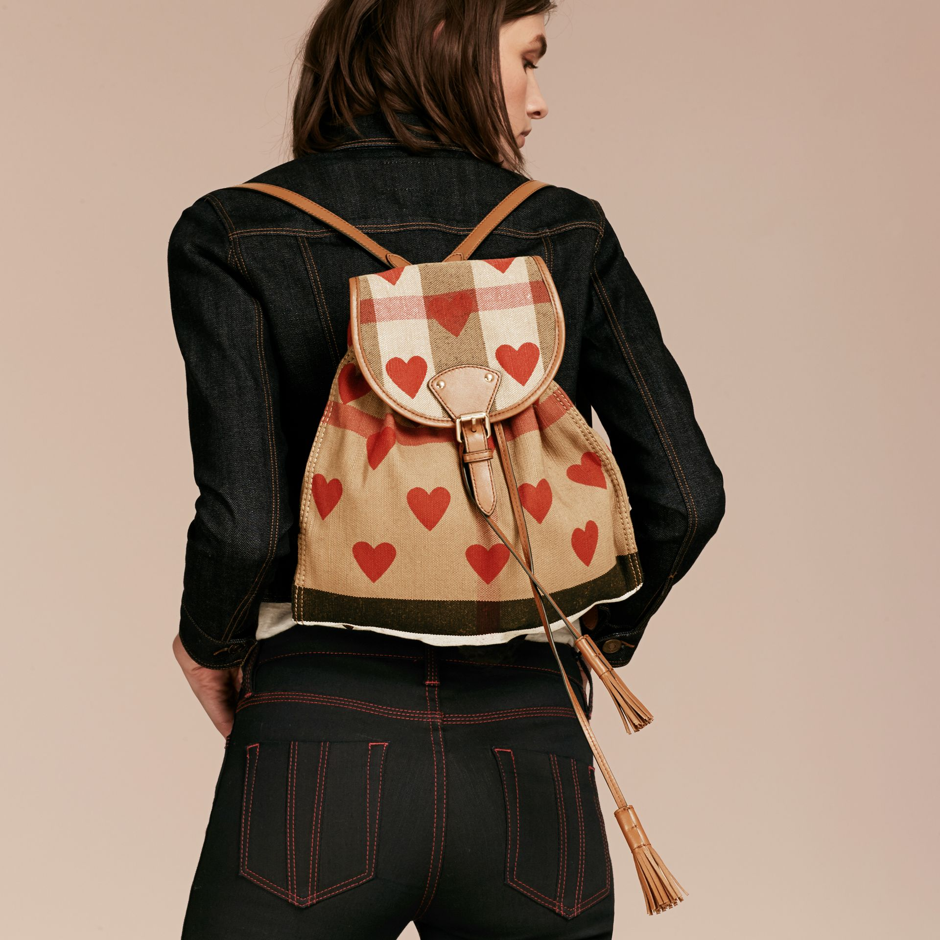 Parade red/tan Heart Print Canvas Check Backpack with Leather Trim Parade Red/tan - gallery image 3