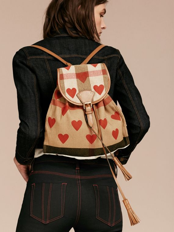 Parade red/tan Heart Print Canvas Check Backpack with Leather Trim Parade Red/tan - cell image 2