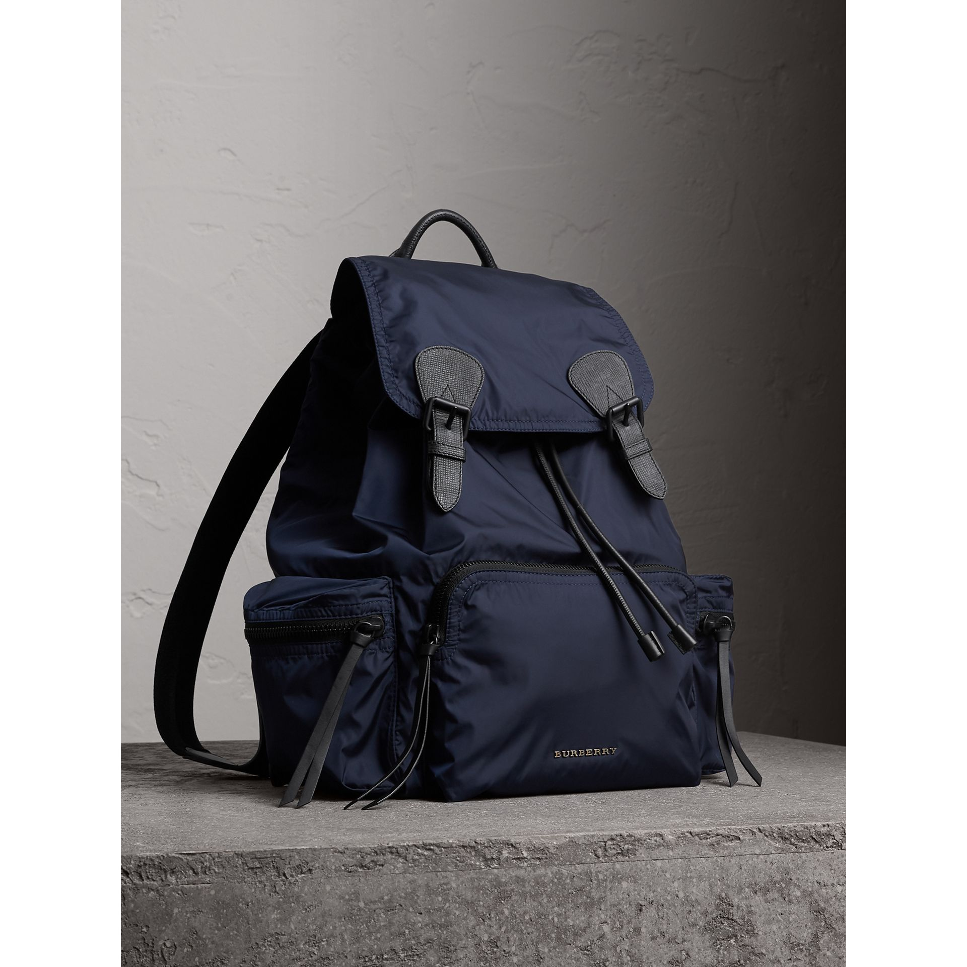 The Large Rucksack in Technical Nylon and Leather in Ink Blue - Men | Burberry United States - gallery image 0
