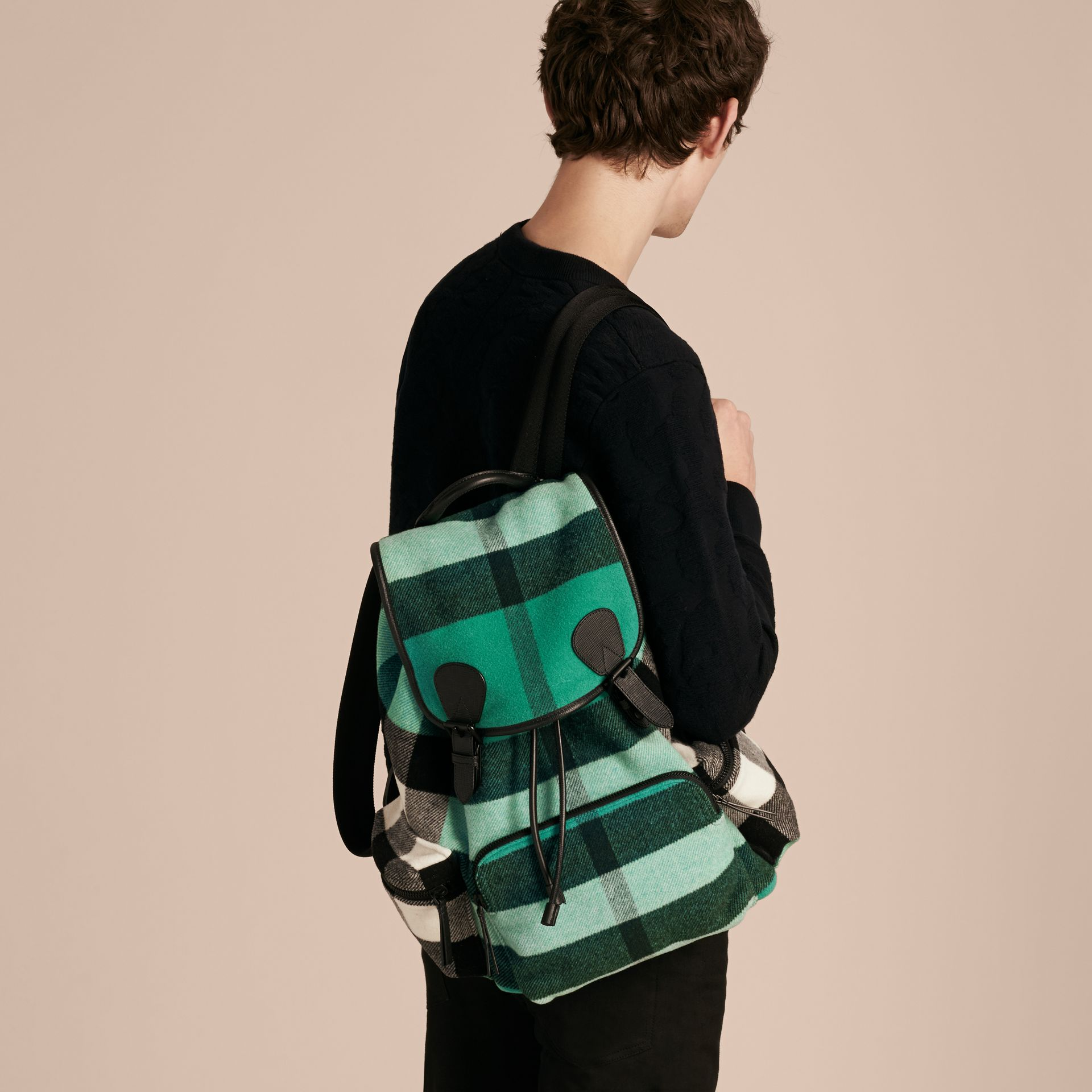 Emerald The Large Rucksack in Check Wool Blend and Leather Emerald - gallery image 4
