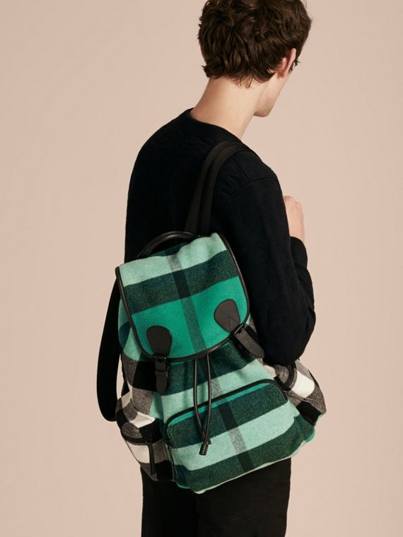 Emerald The Large Rucksack in Check Wool Blend and Leather Emerald - cell image 3