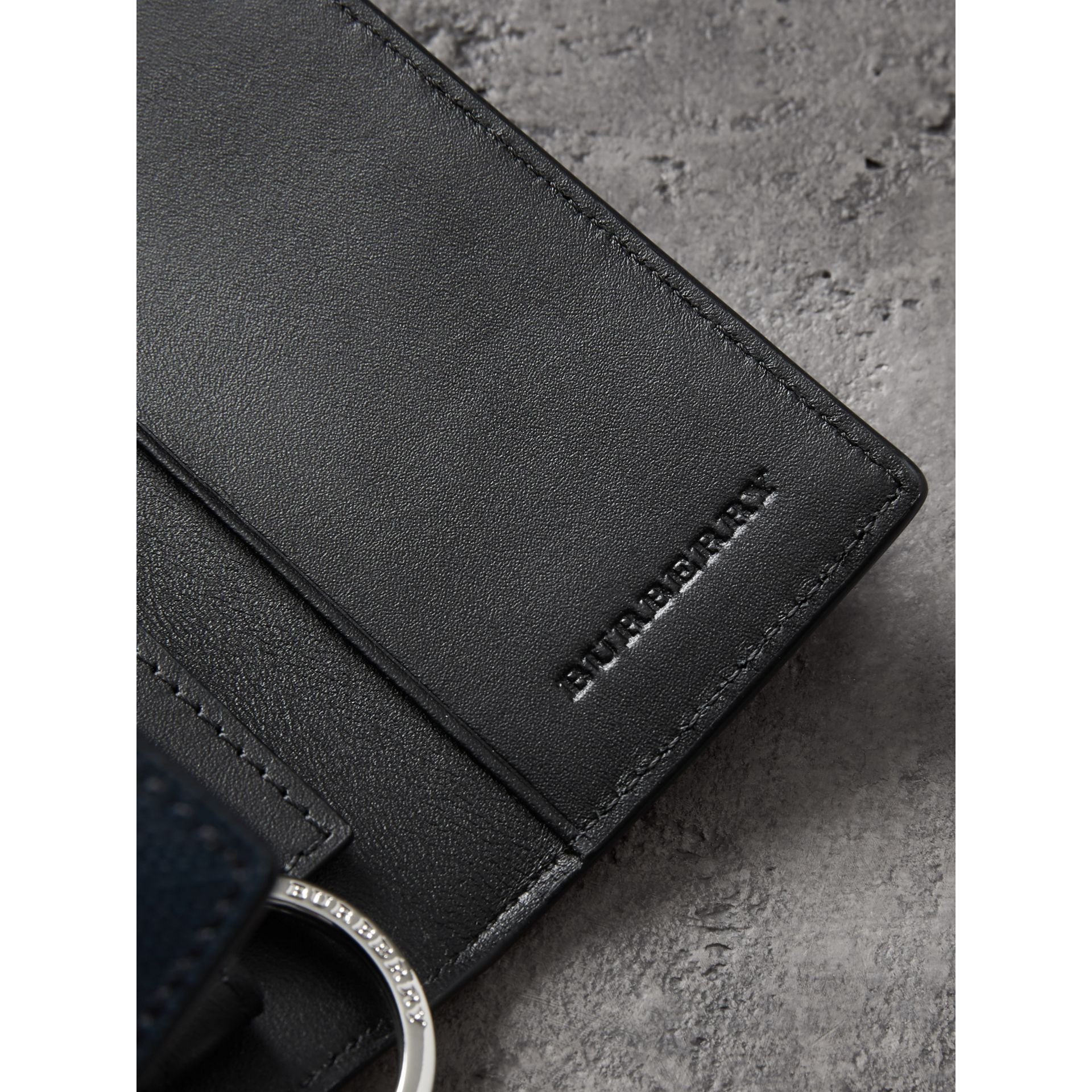 Leather Trim London Check Key Case in Navy/black - Men | Burberry Australia - gallery image 1