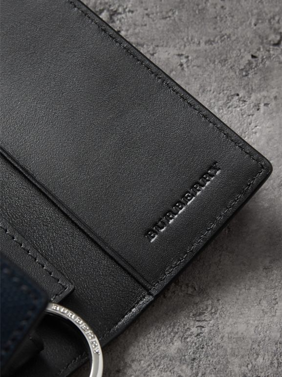 Leather Trim London Check Key Case in Navy/black - Men | Burberry - cell image 1