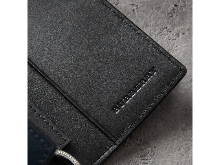 Leather Trim London Check Key Case in Navy/black - Men | Burberry Australia - cell image 1