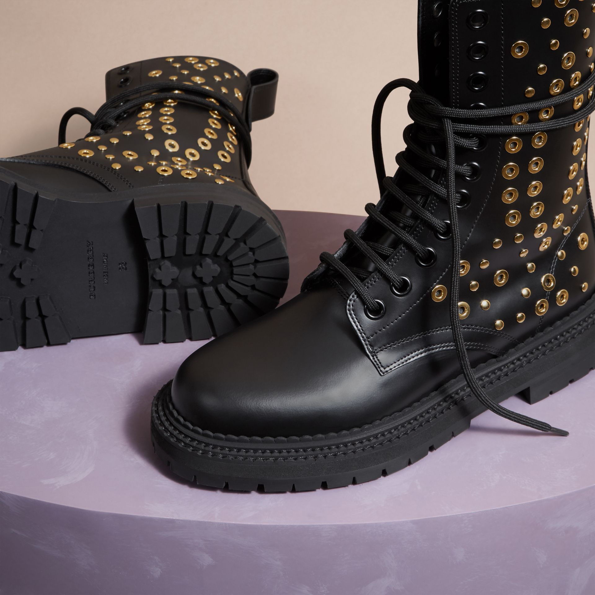 Black Eyelet and Rivet Detail Leather Army Boots - gallery image 5