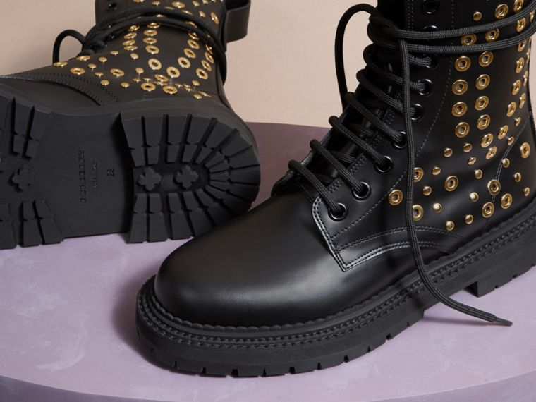 Black Eyelet and Rivet Detail Leather Army Boots - cell image 4