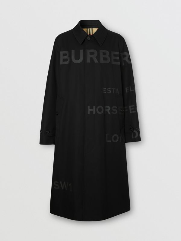 Horseferry Print Cotton Gabardine Car Coat in Black - Men | Burberry United Kingdom - cell image 3