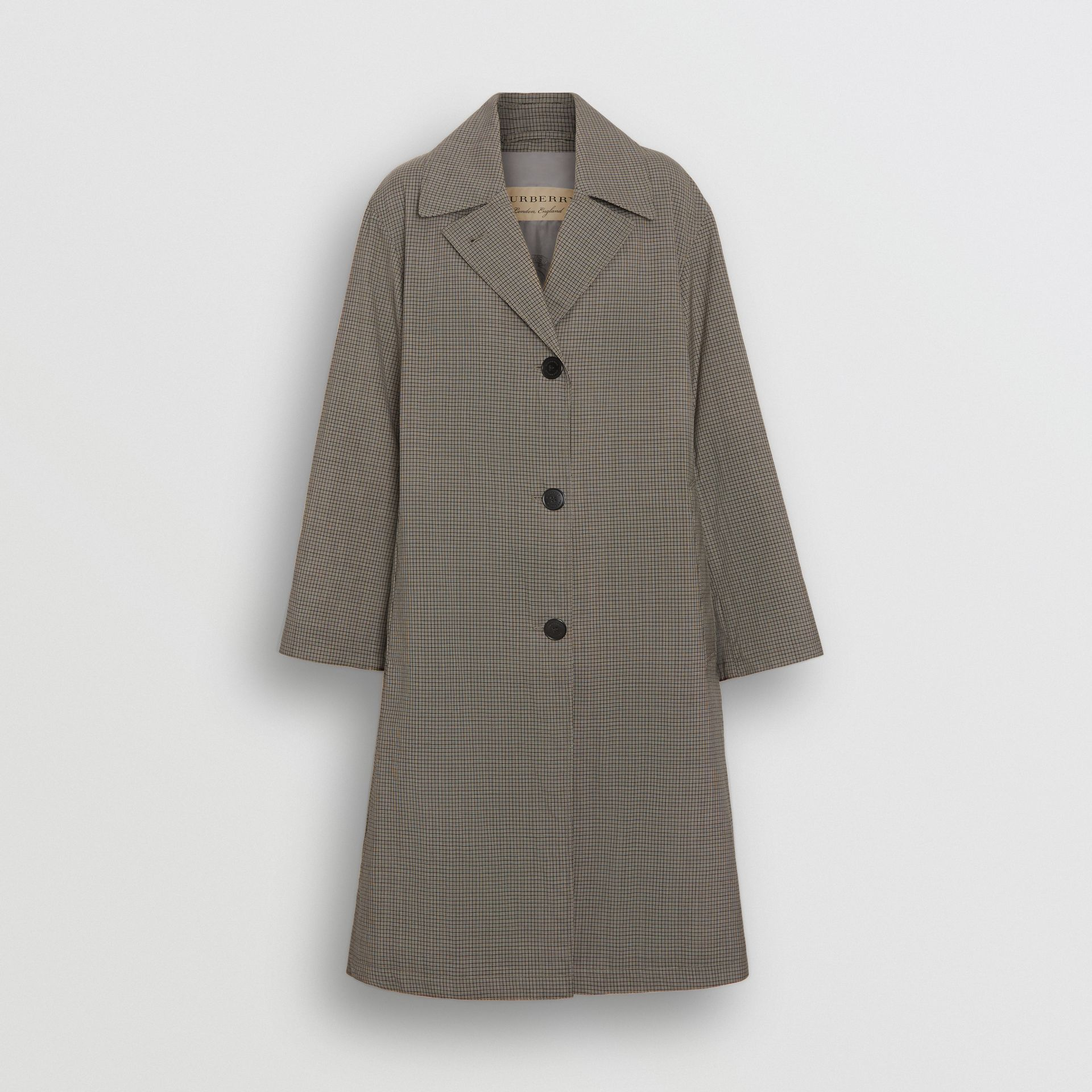 Check Wool Oversized Coat in Taupe - Women | Burberry Australia - gallery image 3