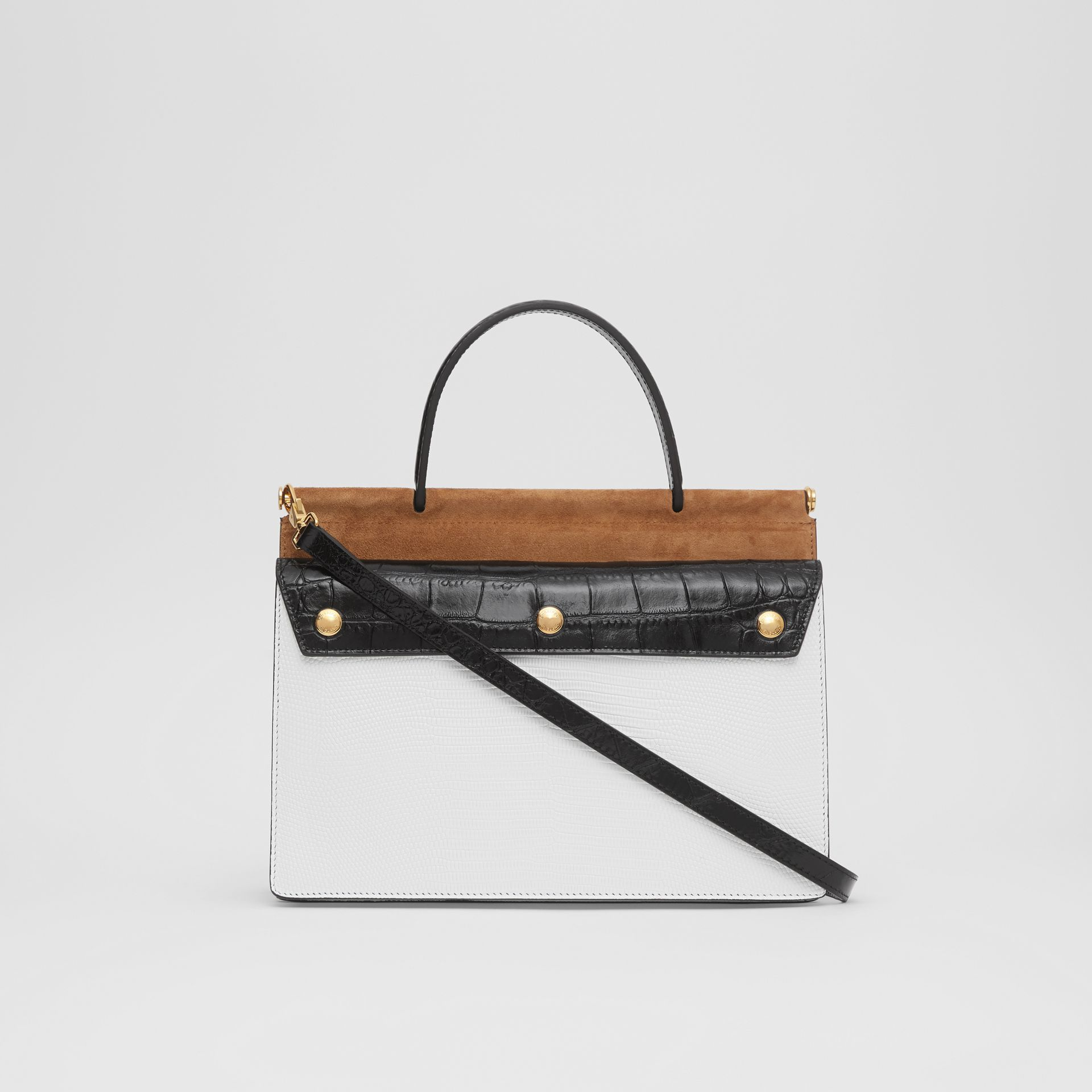Small Deerskin Title Bag with Pocket Detail in White/maple - Women | Burberry Australia - gallery image 7