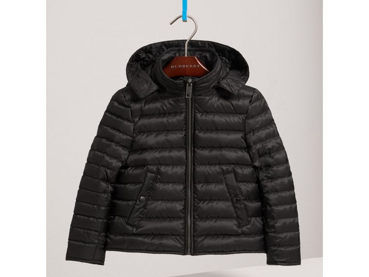 Parka with Detachable Down-filled Hooded Warmer in Navy - Boy | Burberry United States - cell image 4