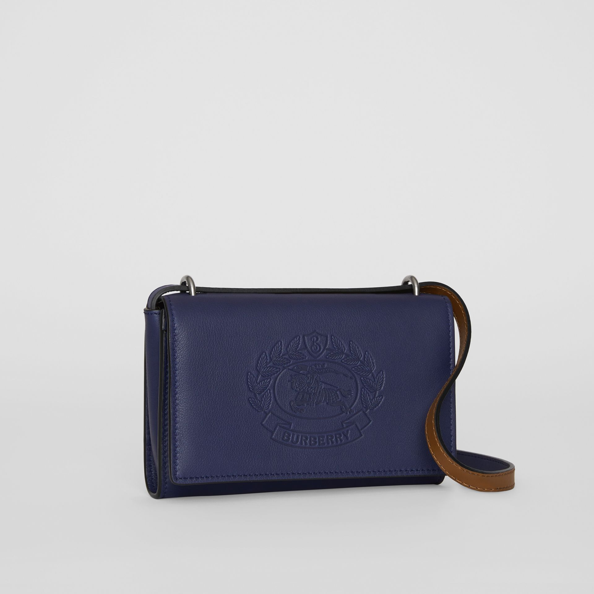 Embossed Crest Leather Wallet with Detachable Strap in Regency Blue - Women | Burberry United Kingdom - gallery image 4