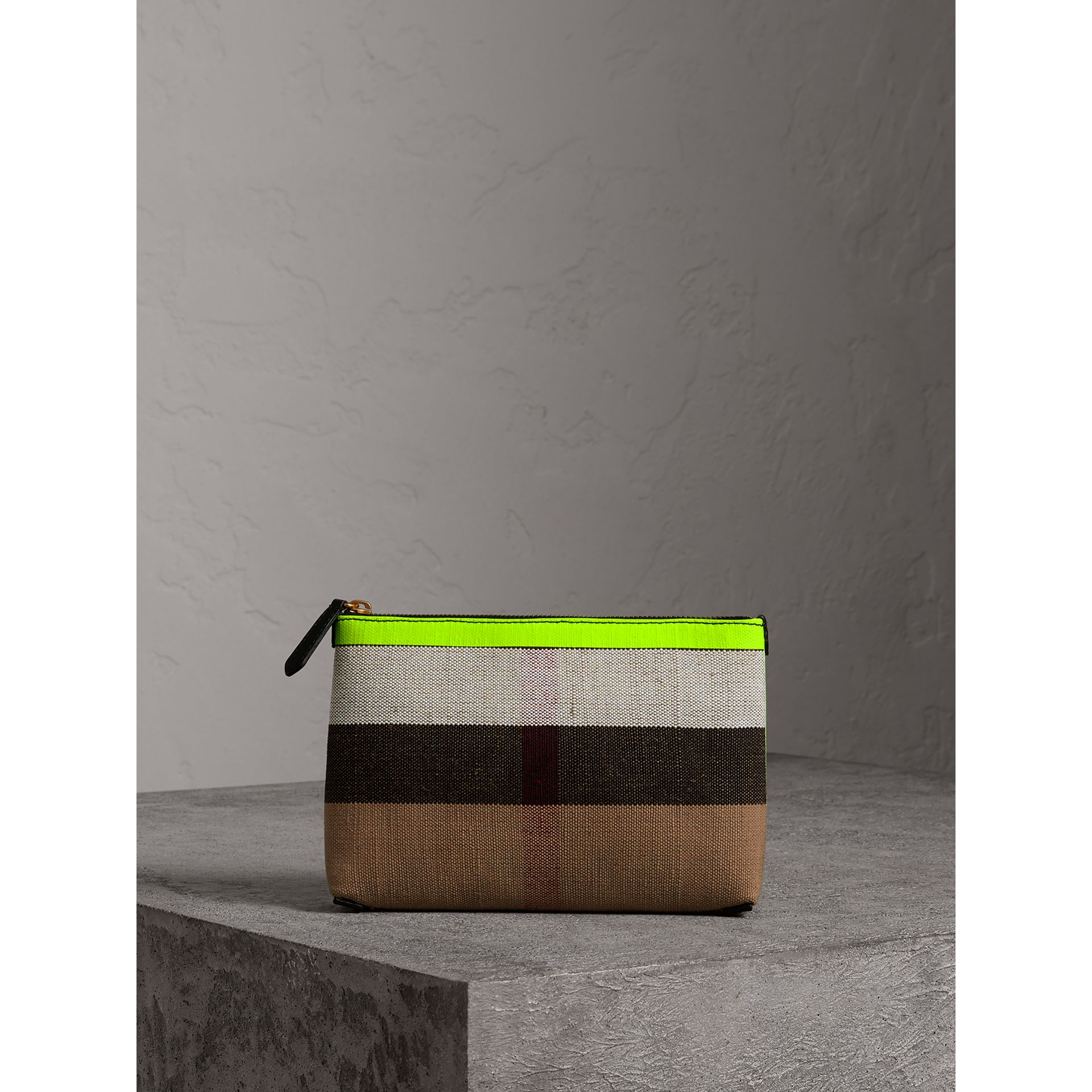 Medium Check Canvas and Leather Zip Pouch in Black/neon Yellow - Women | Burberry United Kingdom - gallery image 0