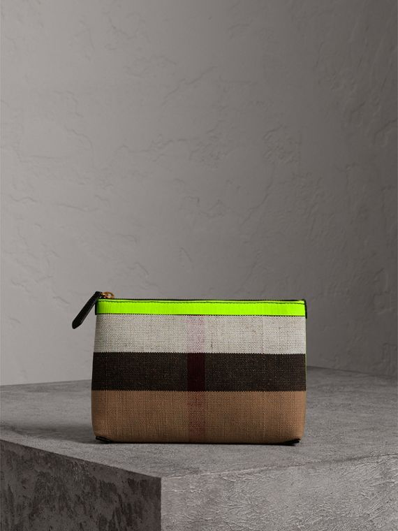 Medium Check Canvas and Leather Zip Pouch in Black/neon Yellow