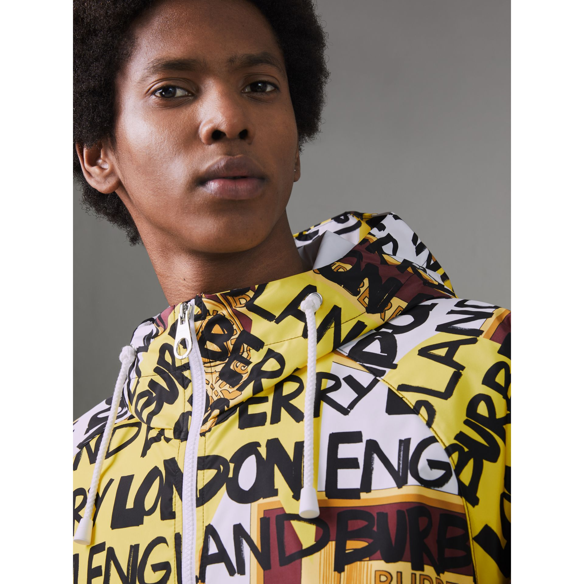 Graffiti Archive Scarf Print Hooded Jacket in Bright Yellow - Men | Burberry Australia - gallery image 1