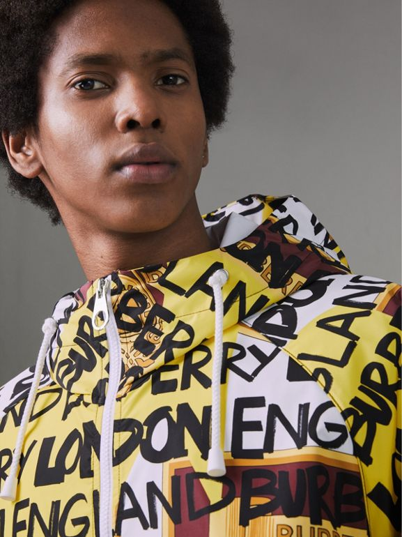 Graffiti Archive Scarf Print Hooded Jacket in Bright Yellow - Men | Burberry Hong Kong - cell image 1