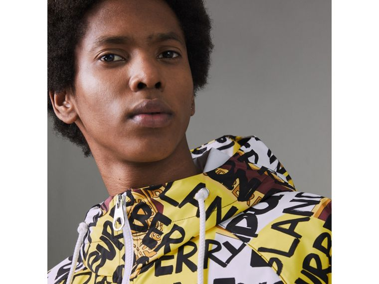 Graffiti Archive Scarf Print Hooded Jacket in Bright Yellow - Men | Burberry - cell image 1